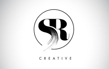 SR Brush Stroke Letter Logo Design. Zwarte verf Logo Leters pictogram met elegante cirkel Vector Design.