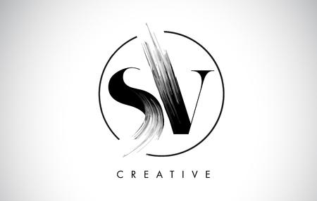 SV Brush Stroke Letter Logo Design. Zwarte verf Logo Leters pictogram met elegante cirkel Vector Design. Stock Illustratie