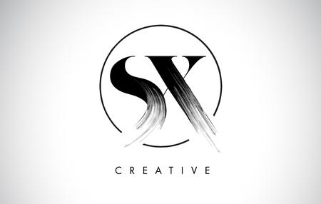 SX Brush Stroke Letter Logo Design. Zwarte verf Logo Leters pictogram met elegante cirkel Vector Design.