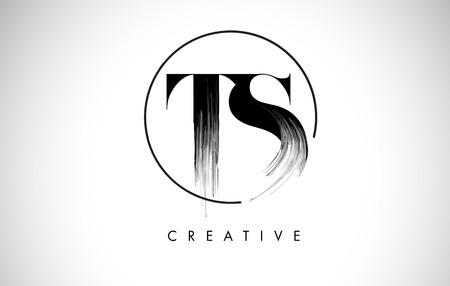 TS Brush Stroke Letter Logo Design. Zwarte verf Logo Leters pictogram met elegante cirkel Vector Design. Logo