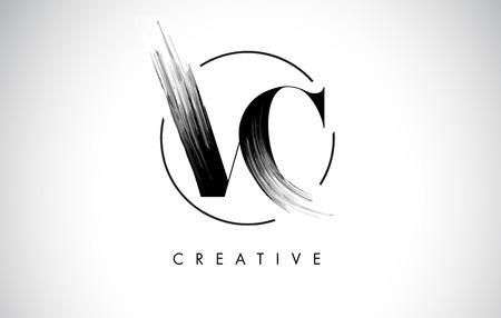 VC Brush Stroke Letter Logo Design. Black Paint Logo Leters Icon with Elegant Circle Vector Design.