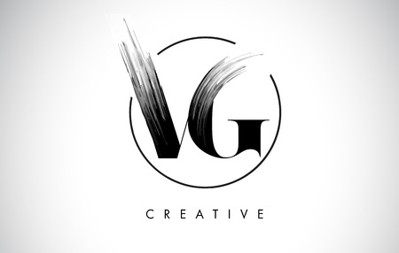 VG Brush Stroke Letter Logo Design. Zwarte verf Logo Leters pictogram met elegante cirkel Vector Design. Stock Illustratie