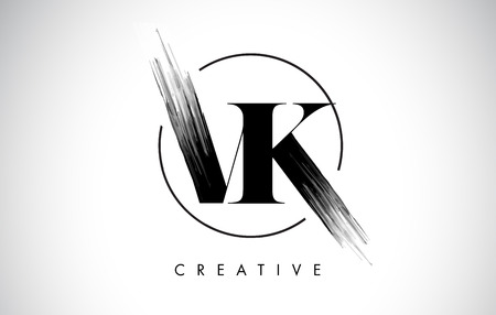 VK Brush Stroke Letter Logo Design. Zwarte verf Logo Leters pictogram met elegante cirkel Vector Design. Stock Illustratie