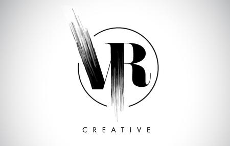 VR Brush Stroke Letter Logo Design. Zwarte verf Logo Leters pictogram met elegante cirkel Vector Design.