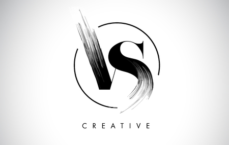 VS Brush Stroke Letter Logo Design. Black Paint Logo Leters Icon with Elegant Circle Vector Design.