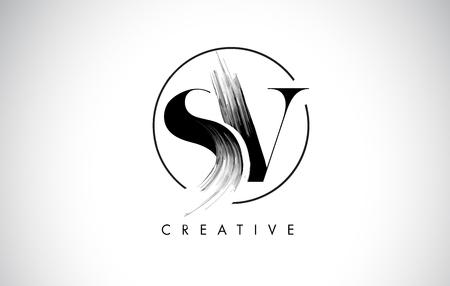 SV Brush Stroke Letter Logo Design. Black Paint Logo Leters Icon with Elegant Circle Vector Design. Stock Illustratie