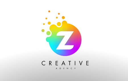 Z Rainbow Dots Letter Logo. Letter Design Vector with Colorful Dots Bubbles. Illustration