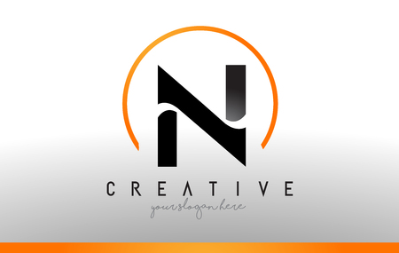 N Letter Logo Design with Black Orange Color. Cool Modern Icon Letters Logo Vector.