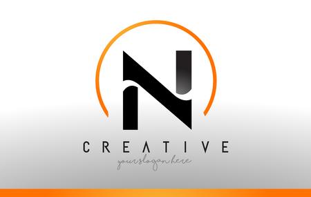 N Letter Logo Design with Black Orange Color. Cool Modern Icon Letters Logo Vector.