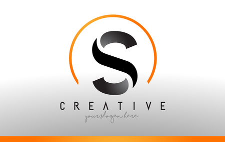 S Brief Logo Design met zwart-oranje kleur. Koele moderne pictogram brieven Logo Vector.