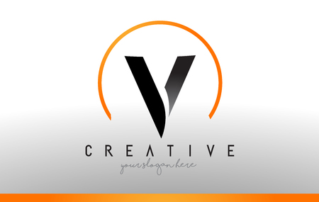 Letter V Logo Design with Black Orange Color. Ilustrace