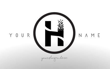 Lettre H Logo avec Digital Pixel Tech Design Vecteur et Black Circle Modern Look Vector Illustration.
