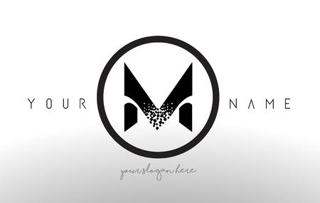 M Logo Letter With Digital Pixel Tech Design Vector And Black Circle Modern Look Illustration