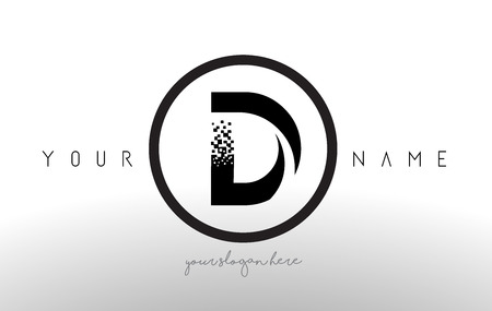 D Logo Letter With Digital Pixel Tech Design Vector And Black Circle Modern Look Illustration