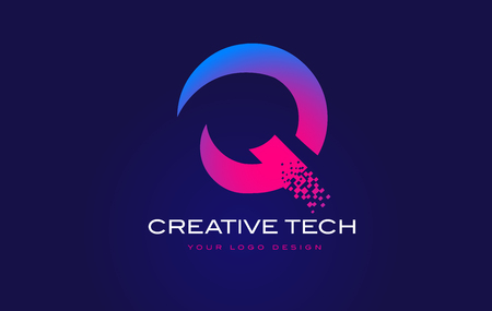 Q Initial Letter Logo Design with Digital Pixels in Blue and Purple Colors. Illustration