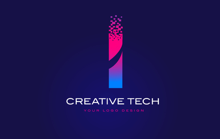 I Initial Letter Logo Design with Digital Pixels in Blue and Purple Colors. 일러스트