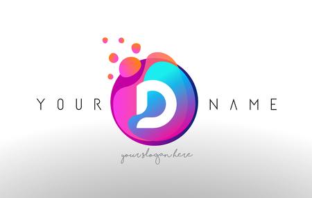 D Dots Letter Logo With Bubbles. A Letter Design Vector with Vibtant Blue Orange Magenta Colors Particles Shapes. Ilustracja