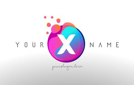 X Dots Letter Logo With Bubbles. A Letter Design Vector with Vibtant Blue Orange Magenta Colors Particles Shapes.