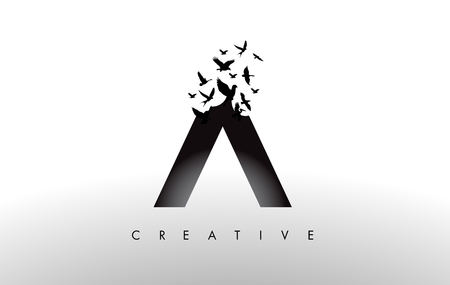 A Logo Letter with Flying Flock of Birds Disintegrating from the Letter. Bird Fly Letter Icon. Illustration