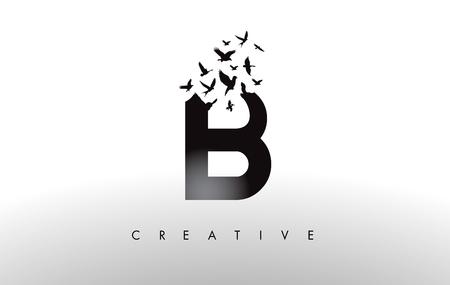 B Logo Letter with Flying Flock of Birds Disintegrating from the Letter. Bird Fly Letter Icon.