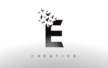E Logo Letter with Flying Flock of Birds Disintegrating from the Letter. Bird Fly Letter Icon. Ilustracja