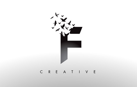 F Logo Letter with Flying Flock of Birds Disintegrating from the Letter. Bird Fly Letter Icon.