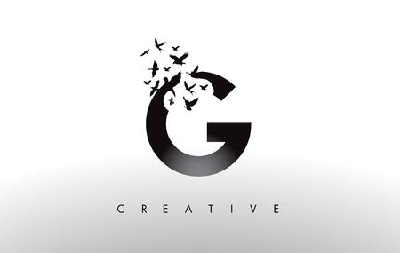G Logo Letter with Flying Flock of Birds Disintegrating from the Letter. Bird Fly Letter Icon. Illustration