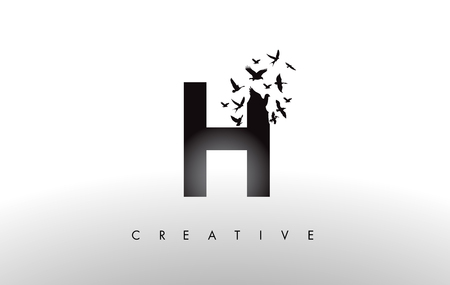H Logo Letter with Flying Flock of Birds Disintegrating from the Letter. Bird Fly Letter Icon.