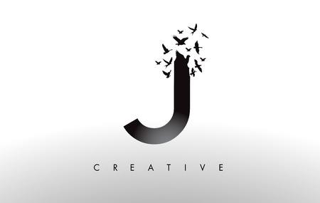 J Logo Letter with Flying Flock of Birds Disintegrating from the Letter. Bird Fly Letter Icon.