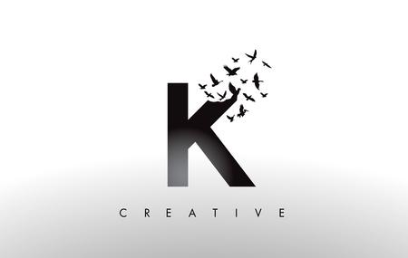 K Logo Letter with Flying Flock of Birds Disintegrating from the Letter. Bird Fly Letter Icon.