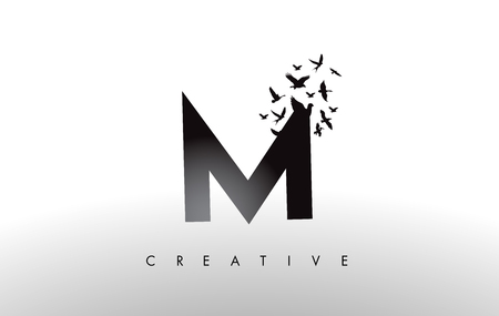 M Logo Letter with Flying Flock of Birds Disintegrating from the Letter. Bird Fly Letter Icon.