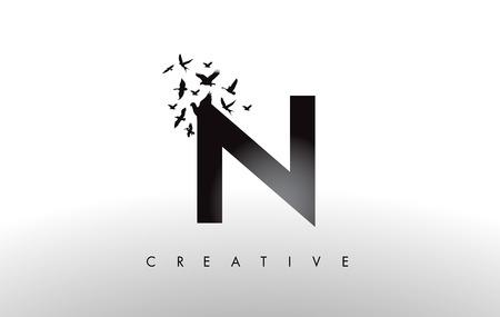 N Logo Letter with Flying Flock of Birds Disintegrating from the Letter. Bird Fly Letter Icon.