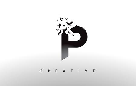 P Logo Brief met vliegende zwerm vogels Uit elkaar vallen van de brief. Bird Fly Letter Icon. Stock Illustratie