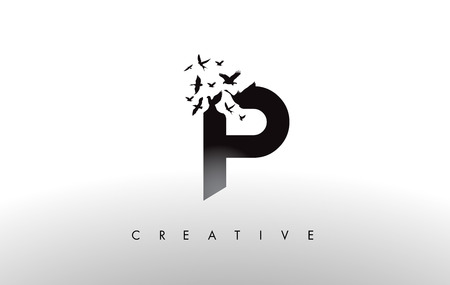 P Logo Letter with Flying Flock of Birds Disintegrating from the Letter. Bird Fly Letter Icon.