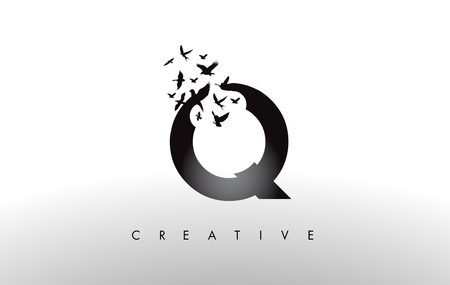 Q Logo Letter with Flying Flock of Birds Disintegrating from the Letter. Bird Fly Letter Icon.