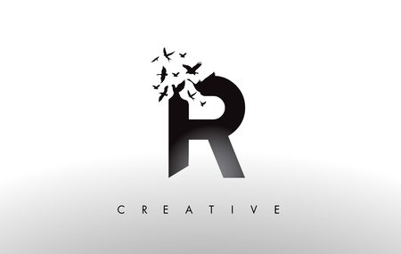 R Logo Letter with Flying Flock of Birds Disintegrating from the Letter. Bird Fly Letter Icon. Ilustrace