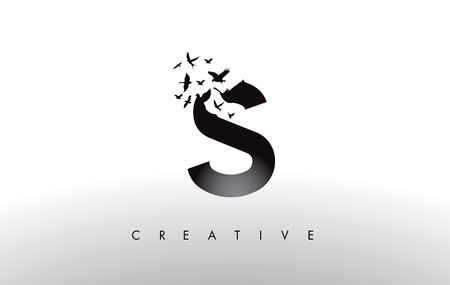 S Logo Letter with Flying Flock of Birds Disintegrating from the Letter. Bird Fly Letter Icon. Çizim