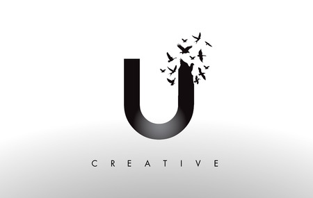 U Logo Letter with Flying Flock of Birds Disintegrating from the Letter. Bird Fly Letter Icon.