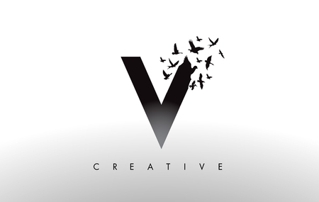 V Logo Letter with Flying Flock of Birds Disintegrating from the Letter. Bird Fly Letter Icon.