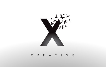 X Logo Letter with Flying Flock of Birds Disintegrating from the Letter. Bird Fly Letter Icon.