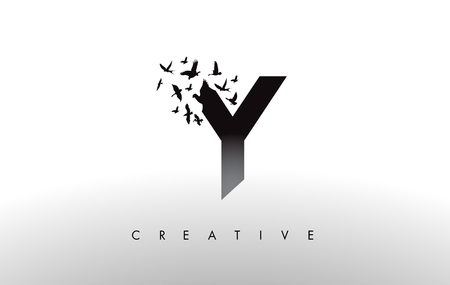 Y Logo Letter with Flying Flock of Birds Disintegrating from the Letter. Bird Fly Letter Icon. Illustration