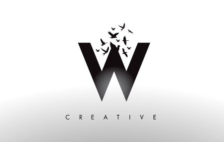 W Logo Letter with Flying Flock of Birds Disintegrating from the Letter. Bird Fly Letter Icon.