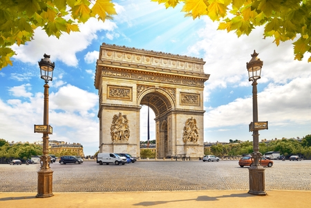 PARIS, FRANCE - AUGUST 29 2017 : Famous Arc de Triomphe in Paris Place Charles de Gaulle