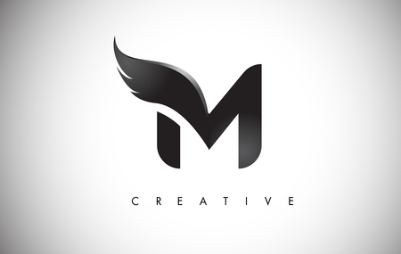 Letter M Wings Design Icon.
