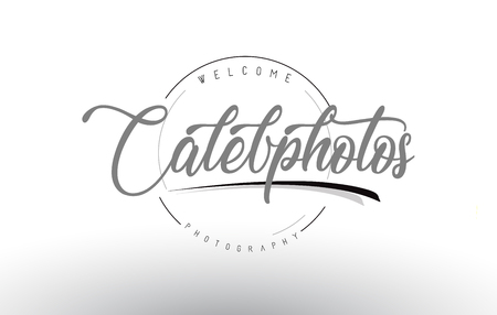 Caleb Personal Photography Design with Photographer Name and Handwritten Letter Design.
