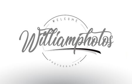 William Personal Photography Logo Design with Photographer Name and Handwritten Letter Design.
