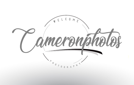 Cameron Personal Photography Logo Design with Photographer Name and Handwritten Letter Design.  イラスト・ベクター素材