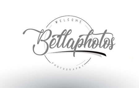 Bella Personal Photography Logo Design with Photographer Name and Handwritten Letter Design.  イラスト・ベクター素材