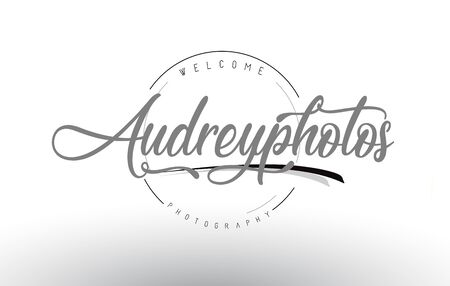 Audrey Personal Photography Logo Design with Photographer Name and Handwritten Letter Design.