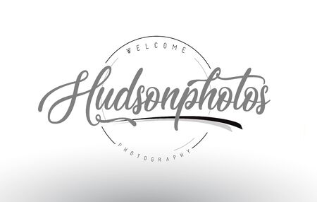 Hudson Personal Photography Logo Design with Photographer Name and Handwritten Letter Design.